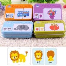 KinderPuzzle Spielzeug Kleinkind Eisen Box Karten Passende Spiel Kognitiven Karte Vehicl Obst Tier Leben Set