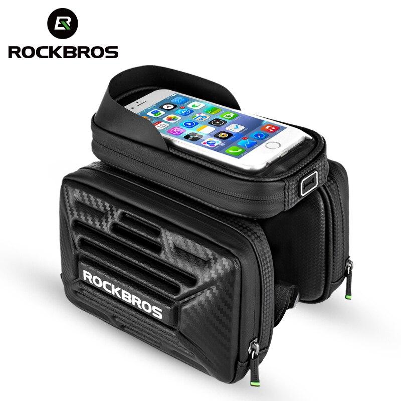 Велосипедная сумка ROCKBROS с Карбоновым узором, с сенсорным экраном, велосипедная сумка для телефона, MTB Дорожная сумка-труба, сумка-седло для 6,...