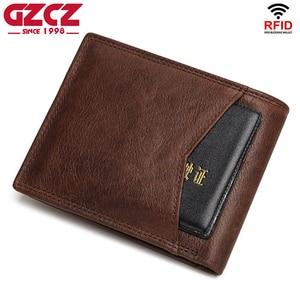 Image 4 - GZCZ Rfid 100% Genuine Leather wallet men credit card Purse portofolio slim wallets vallet Card Holder walet for women 2020