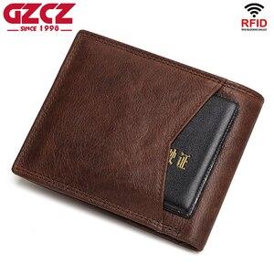 Image 4 - GZCZ Rfid 100% portefeuille en cuir véritable hommes carte de crédit porte monnaie portofolio mince portefeuilles vallet porte carte walet pour les femmes 2020