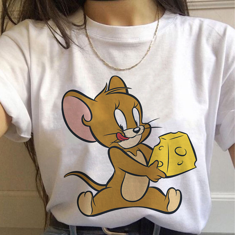 Jerry Mouse Cat Tom Print Cartoon Casual Summer Top Fun Prank Female Harajuku Loose Letters Large Tee Cute Ulzzang Retro T-shirt