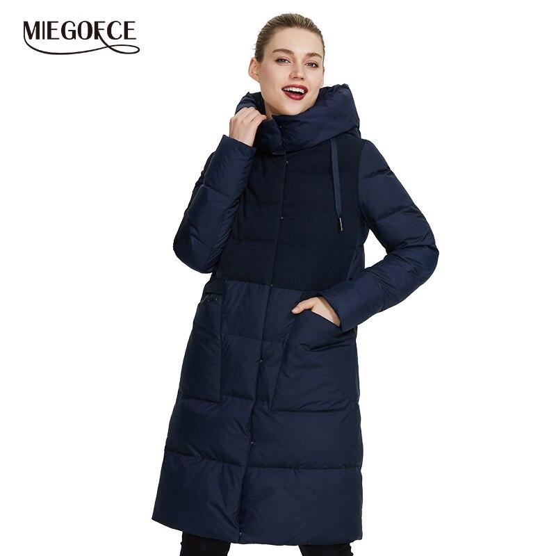 Miegofce 2019 a nova coleção feminina inverno casacos de inverno design incomum é feita de dois tecidos que jaquetas