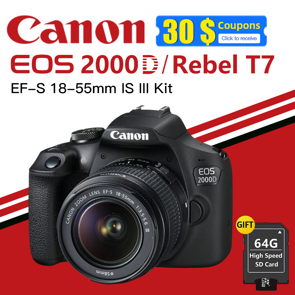 Canon EOS 2000D (Rebel T7) DSLR Camera with EF-S 18-55mm f/3.5-5.6 DC III Lens