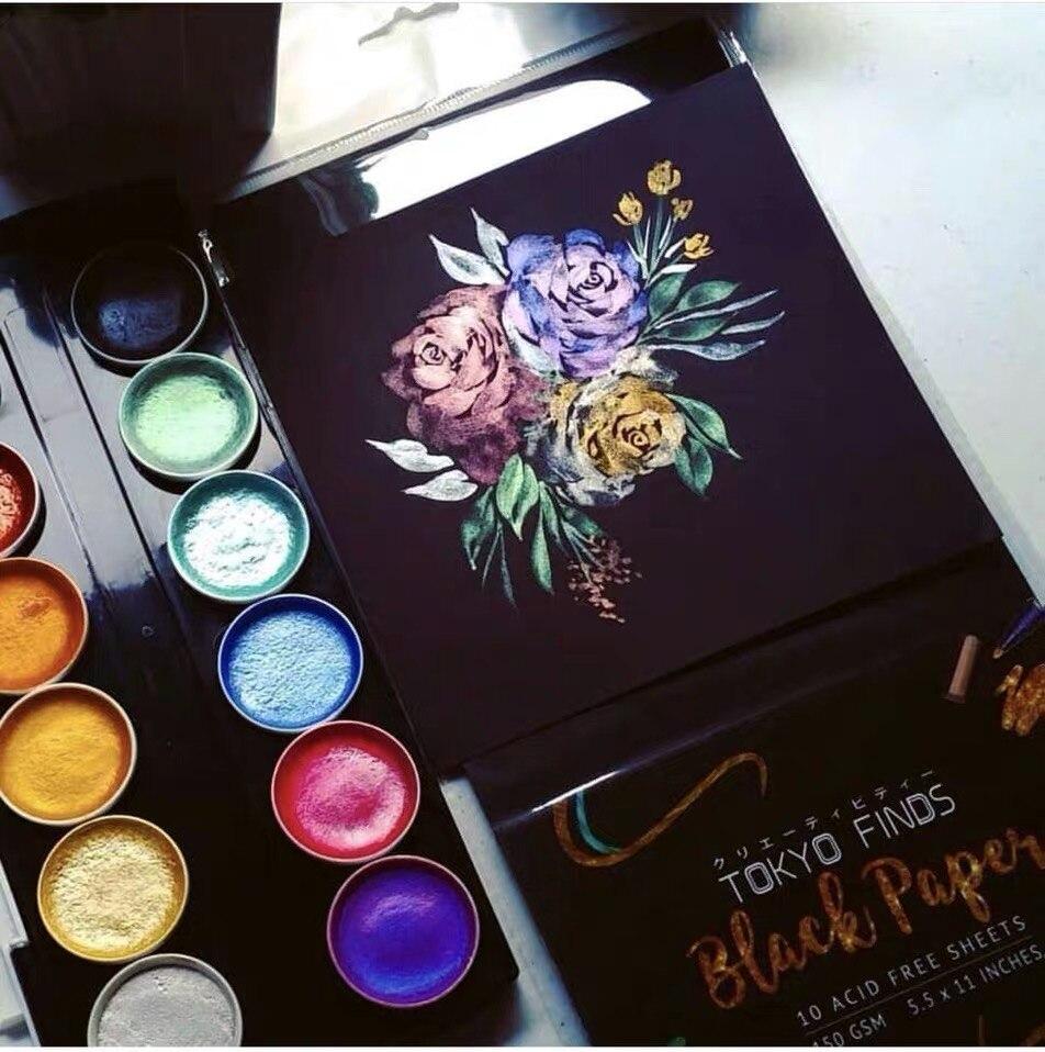 12 cores artista metálico aquarela pintura conjunto com água escova caneta para pintura glitter água cor arte suprimentos