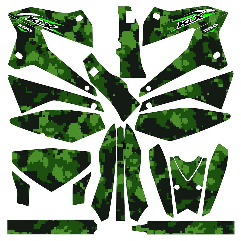 Full Camouflage Graphics Decals Stickers Custom Number Name 3M Bright Stickers Waterproof For Kawasaki KLX250 2008-2018