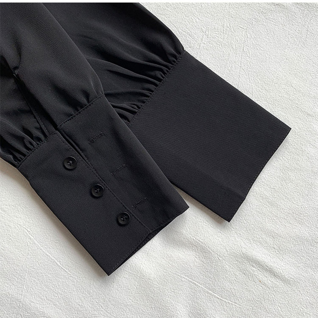 REALEFT 2020 Spring Women's Blouses Shirts Long Sleeve Turn-down Collar Korean OL Style Vintage Office Lady Black Ladies Tops 5
