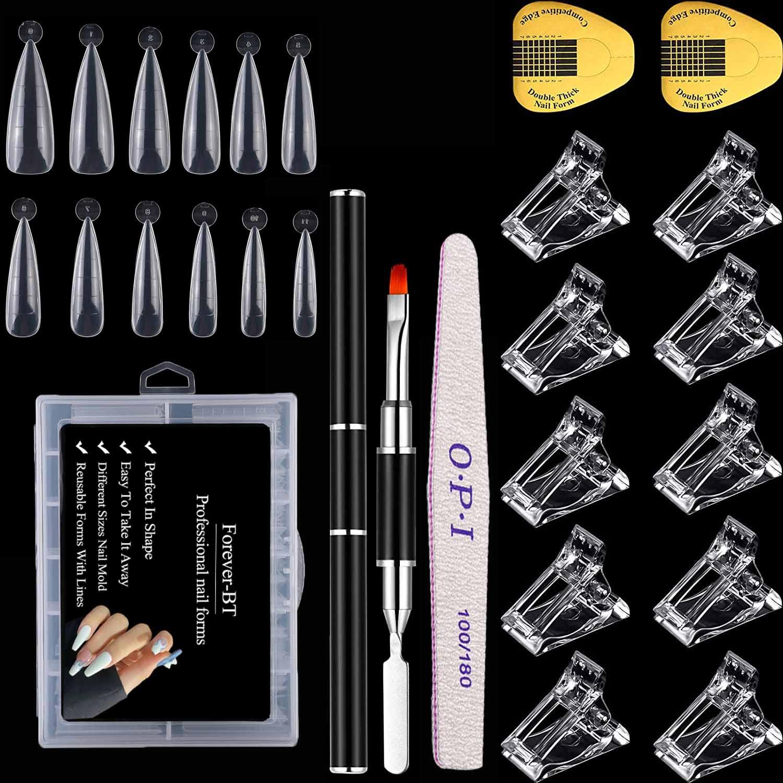 120 шт. Типсы для наращивания ногтей, 10 акриловых зажимов для ногтей, двухсторонняя Гелевая Кисть и пилка для ногтей, набор для быстрого наращ...