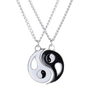 2PC/Set Spliced tai chi Gossip Yin Yang Best Friends BFF Charm Jewelry sister Pendant Necklace couple pendant White Black Simple