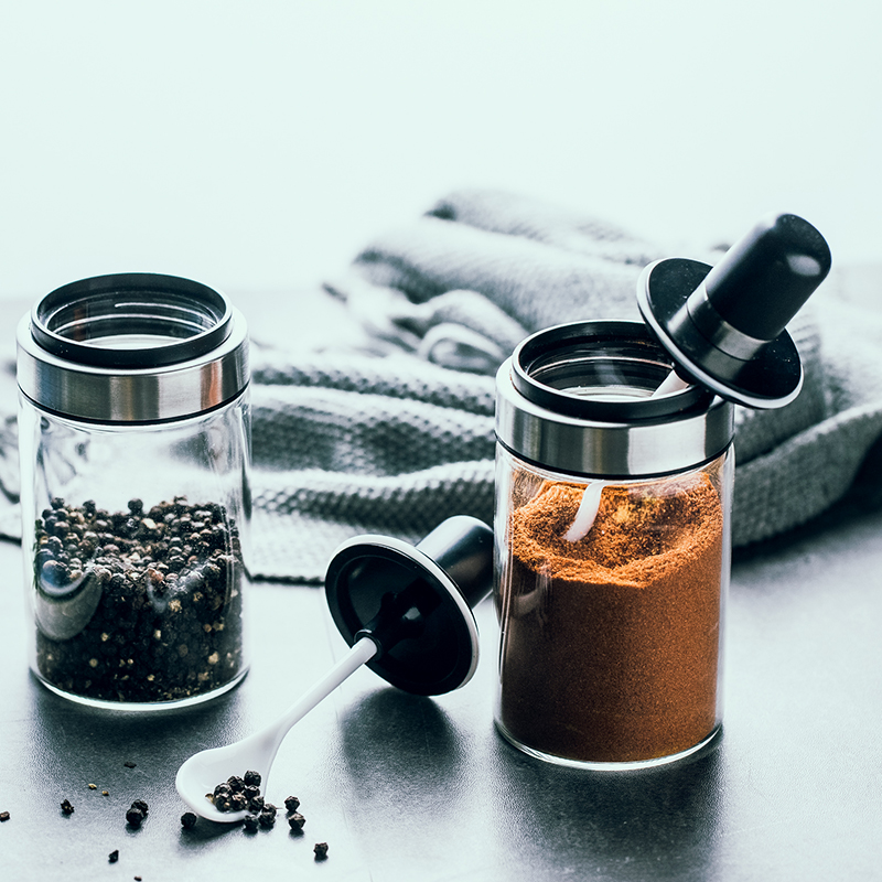 Spice container glass condiment flask with spoon oil honey salt and pepper kitchen accessories glass seasoning jar