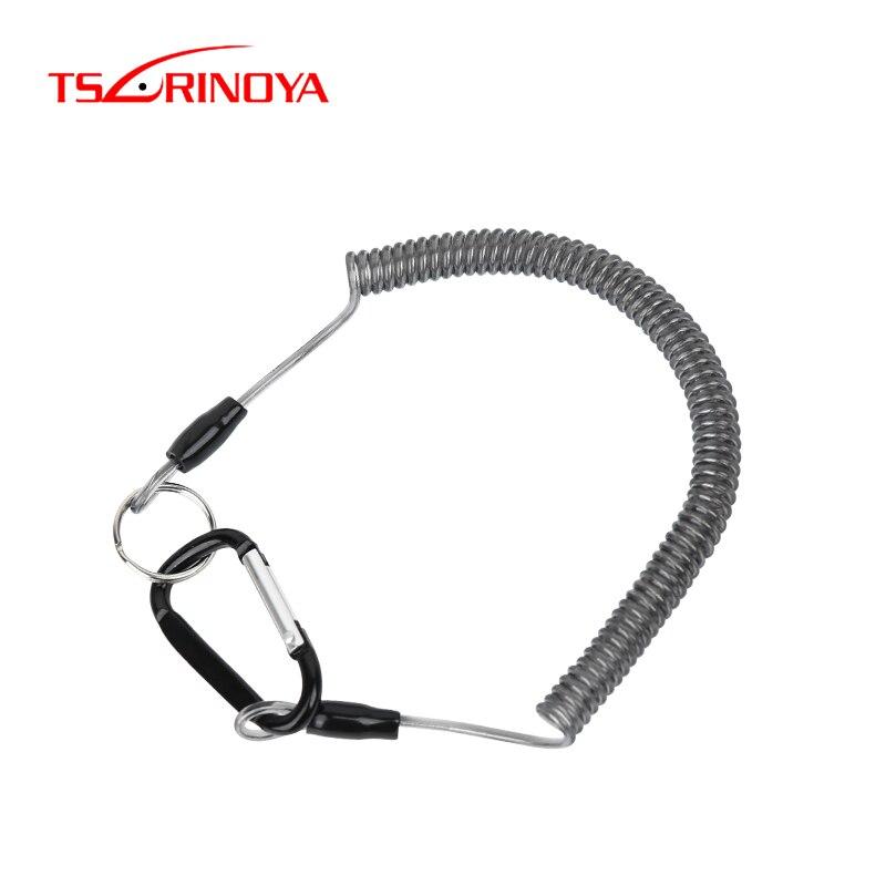 TSURINOYA Fishing Talck Steel Wire Tetention Rope 2pcs Elastic Lanyards Fishing Tool Lanyards Spring Coil