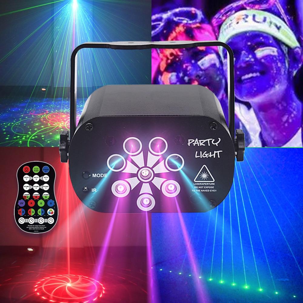 USB RGB УФ светодиодный светильник для дискотеки лазерное шоу 128 узоров 8 отверстий проектор диско DJ вечерние светильник для рождества свадьбы ...