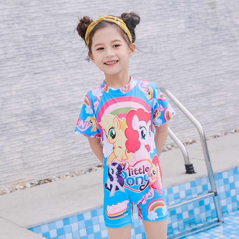 KID'S Swimwear Korean-style Anime Girls Siamese Swimsuit Boxer Set Zipper Short Sleeve Quick-Dry Conservative Hot Springs