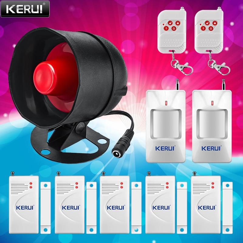 KERUI Alarm Siren Home Security System 100dB Volume PIR Motion Detector Controller Wireless Siren Loudly Sound for House Garage
