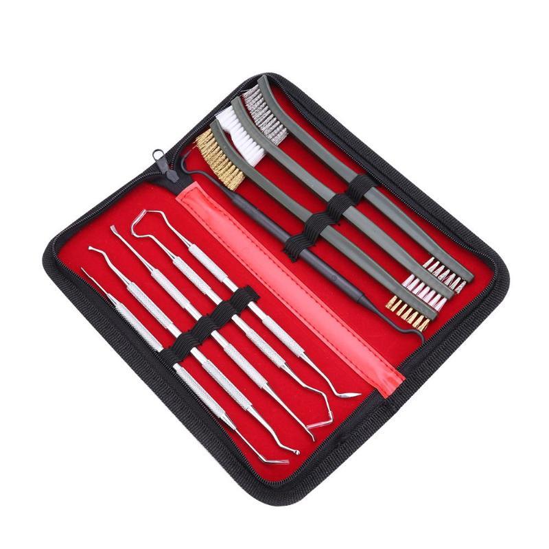 7pcs/Set 3pcs Steel Wire Brush + 4pcs Nylon Pick Set Universal Gun Hunting Cleaning Kit Tactical Rifle Pistol Gun Cleaning Tool