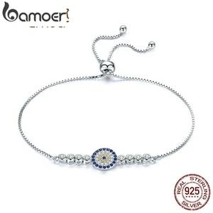 Image 1 - BAMOER 925 Sterling Silver Lucky Round Blue Eyes Power Tennis Bracelet Pave CZ Adjustable Link Chain Bracelets Jewelry SCB006