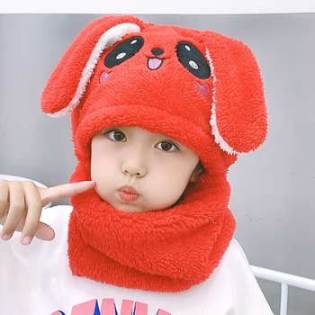 Cute Rabbit Ears Cap Hats Toddler Kids Baby Boy Girl Winter Warm Plush Scarf Earflap Beanie Hat Sky