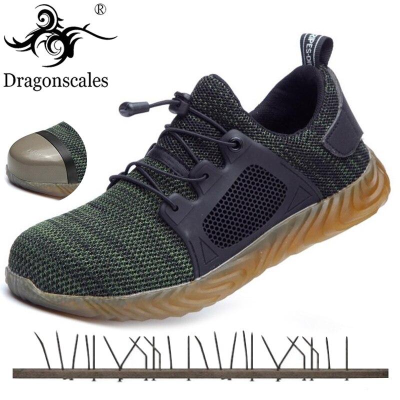 2019 Nova Malha Respirável Sapatos De Segurança Homens Sneaker Luz Indestrutível Anti-perfuração de Aço Do Dedo Do Pé Macio Botas de Trabalho Plus Size 36-48