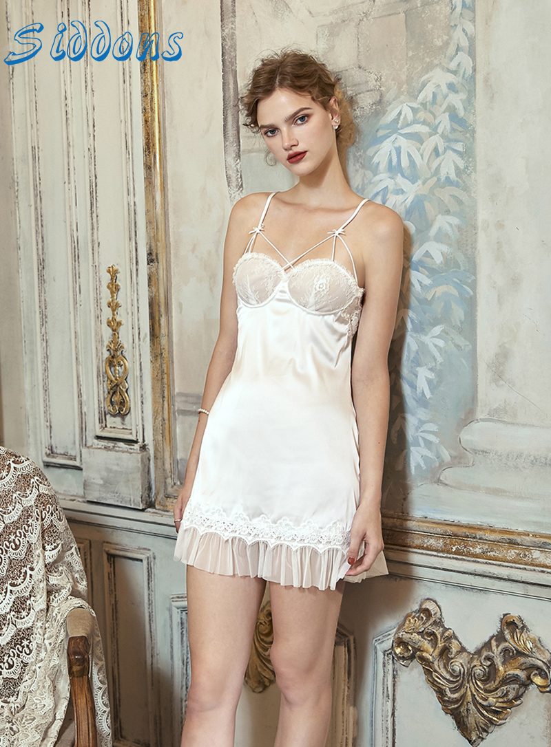 SIDDONS Women Nightdress Sexy Mini Dress Female Perspective Satin Lace 1/2 Cup Underwear Summer Sling V-Neck Backless Nightdress