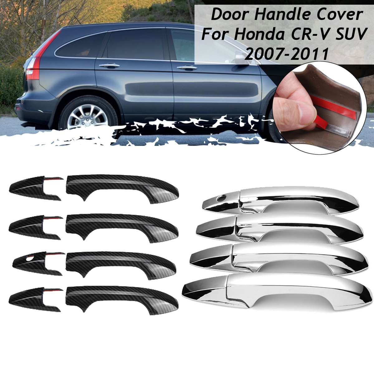3 Colors Car Door Handle Frame Sticker For Honda CR-V CRV SUV 2007 2008 2009 2010 2011 Car Styling Chrome Carbon Cover Catch Cap