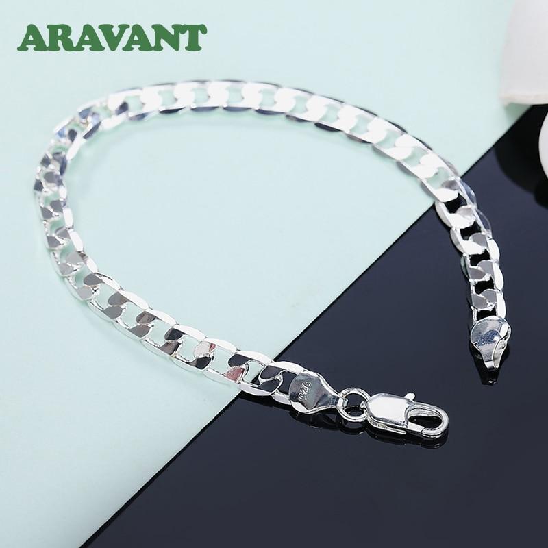 925 Silver Bracelets 8MM 10MM Flat Link Chain Women Men Wedding Fashion Jewelry
