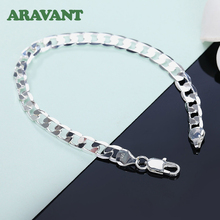 925 Silver Bracelets 8MM 10MM Flat Link Chain Women Men Wedding Fashion Jewelry