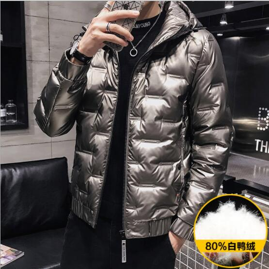 A16 Winter New Bright Men's Short Hooded V Lightweight Down Jacket Warm Jacket title=