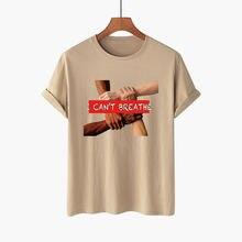 Женская футболка с принтом i can't breathe свободная коротким