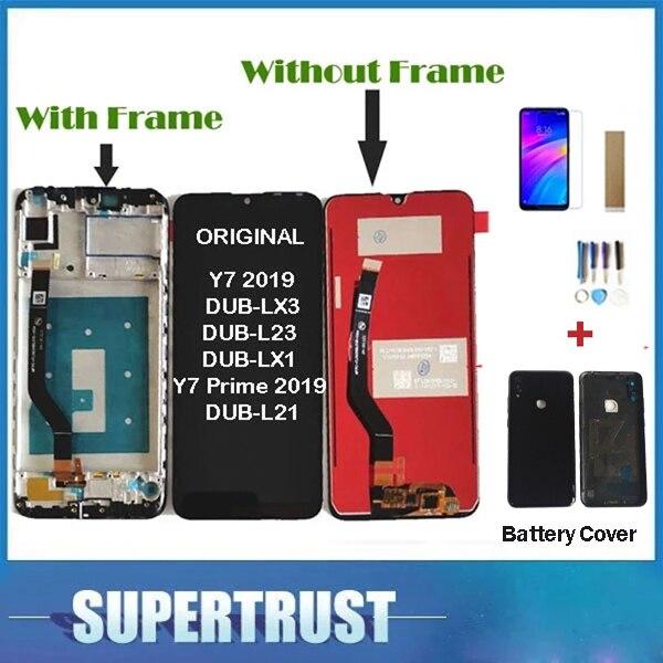 Com/sem moldura original para huawei y7 2019 DUB-LX3 DUB-L23 DUB-LX1 y7 prime 2019 display lcd tela de toque + bateria cobrir
