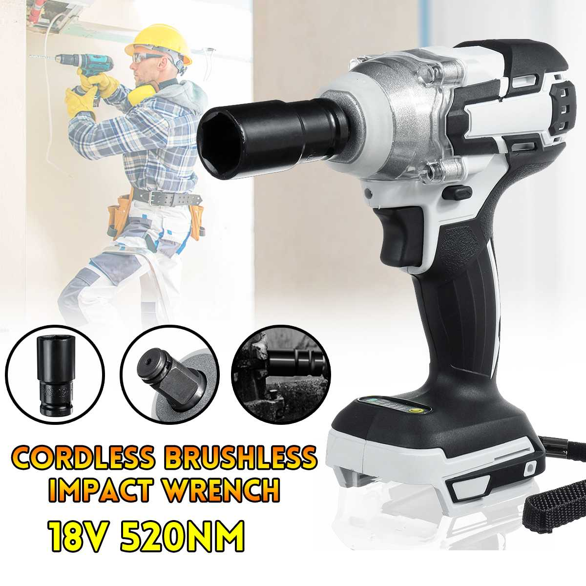 18V 520N.M Brushless Impact Wrench Cordless Electric 1/2