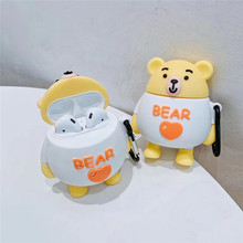 3D Cartoon Cute Case For Airpods 1 2 Love Heart Bear Earphone Silicone Coque 1:1 Accessories with Keychain