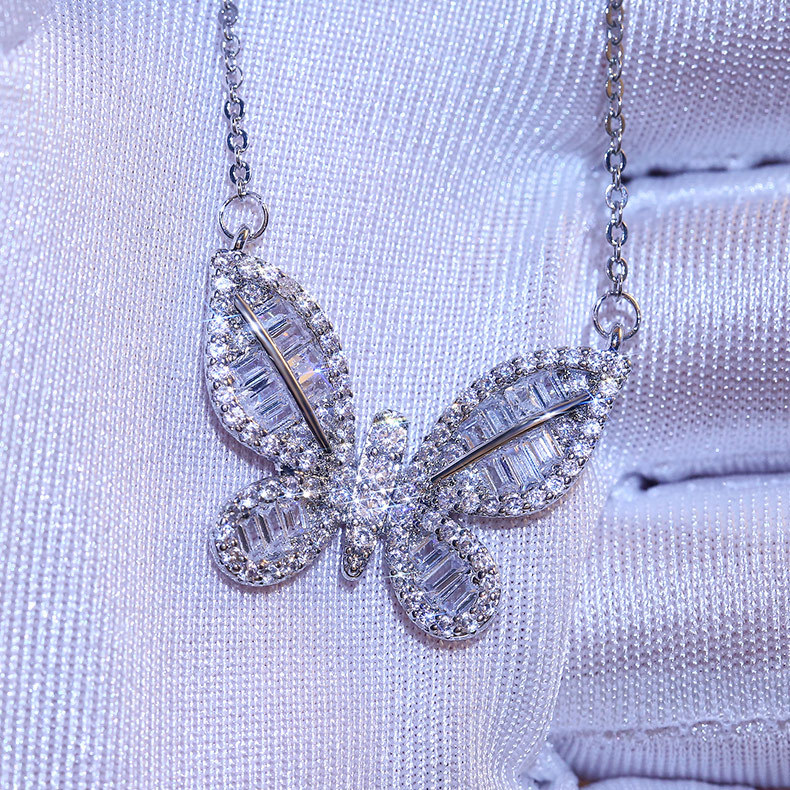 2020 new trendy Butterfly Necklace solid 925 sterling silver for girl lovers love party gift jewelry wholesale moonso X5659 image