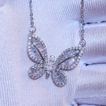 2020 new trendy Butterfly Necklace solid 925 sterling silver for girl   gift   Christmas gift jewelry wholesale moonso X5659 tjp trendy box shaped silver anklets for women jewelry new fashion girl silver 925 bracelets jewelry lady lovers christmas gift