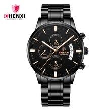 CHENXI çok fonksiyonlu kronometre moda spor kuvars erkek saatler ile su geçirmez paslanmaz çelik kayış takvim erkekler İzle