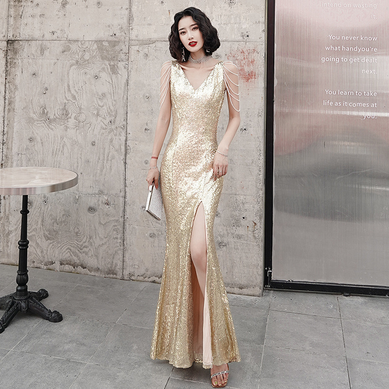 2020 Sale Scalloped Vestido De Festa Golden Evening Dress Female 2020 New Noble Banquet Sexy Host Long Mermaid Style Fishtail