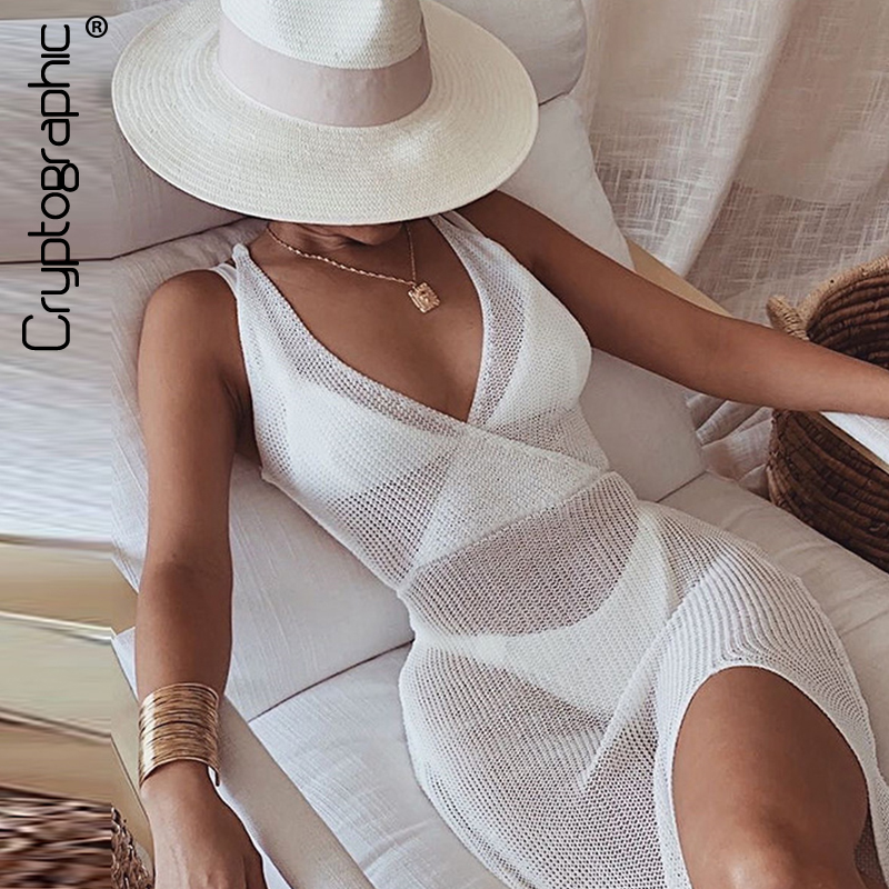Cryptographic Crochet Beach Maxi Dress for Women See Through Sexy Plunge Backless Bandage Sleeveless Lacing Split Long Dresses