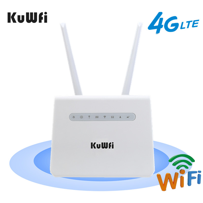 KuWFi 4G LTE Wifi Router 150Mbps CAT4 Wireless CPE 4G SIM Card Wifi Router Mobile Wifi Hotspot With 2PCS External Antennas image