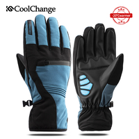 CoolChange Bicycle Gloves Outdoor Warm Waterproof Cycling Gloves Full Finger Thermal Thick Snow Skiing Sports MTB Bike Gloves