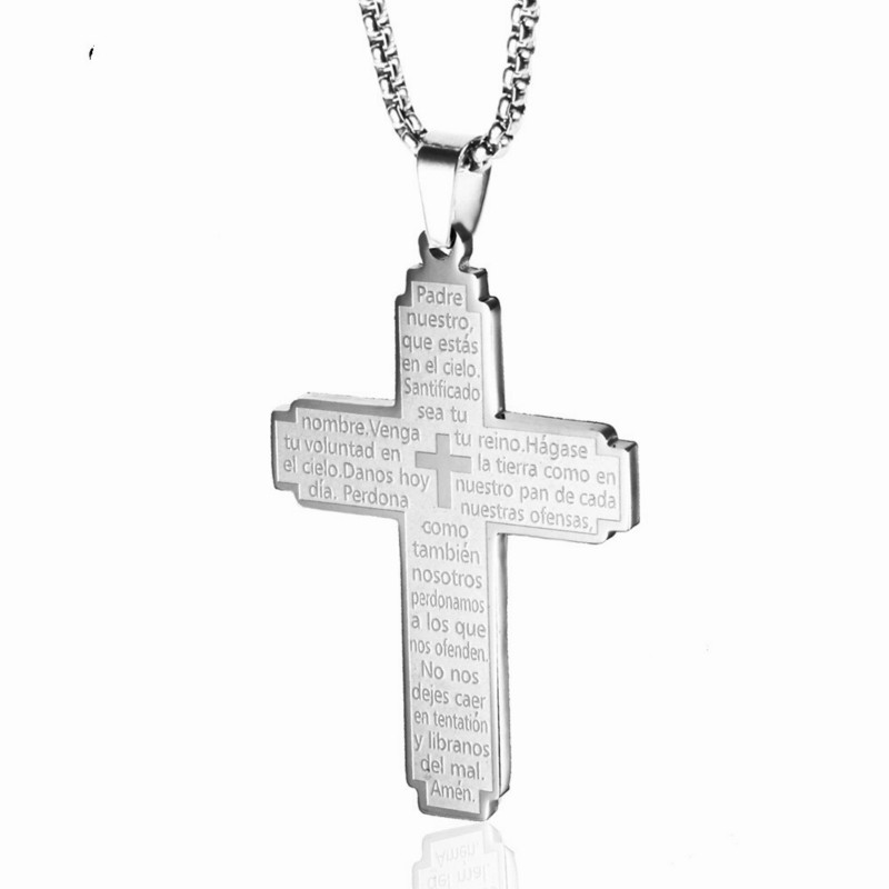 Titanium Steel Silver Bible Cross Pendant Jesus Catholic Couple Stainless Prayer Accessories Necklace