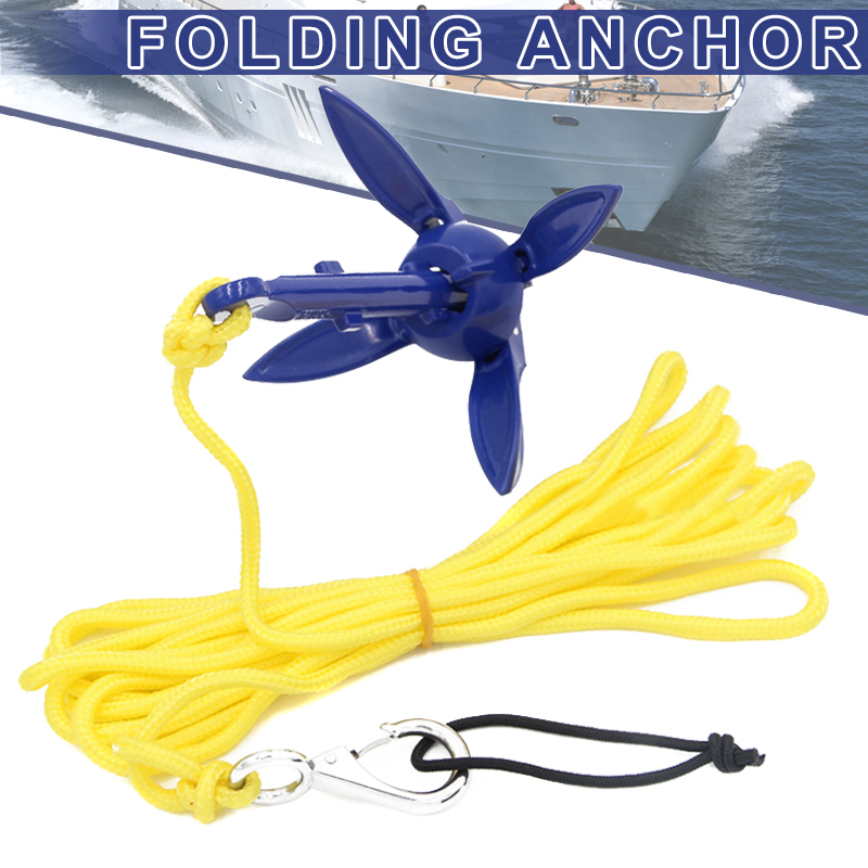 1pc 230g Boats Folding Anchor 4 Tines Compact Anchor Buoy Kit Marine Rope For Canoes Kayaks Sailboat Rowing  Fishing Accessories