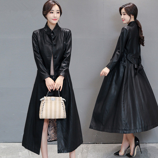 Women Red Black Long Faux Leather Jacket Autumn Ladies Washed PU Leather Trench Coat Female Outerwear With Belt Plus Size 4XL