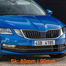 Car Styling 80mm 90m  Middle Front Grille Rear Trunk Emblem Replacement Logo Sticker for Skoda Octavia Superb Fabia Rapid Kodiaq black silver 90mm and 80mm hood grill grille tail emblem badge sticker for skoda rs rapid octavia superb fabia