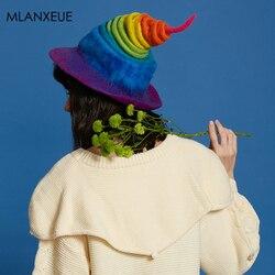 Begrenzte Verkauf Regenbogen Wolle Felf Caps Frauen Lustige Handgemachte Hüte Weibliche Mode Halloween Party Kappe Magie Ostern Hut Für Damen heißer