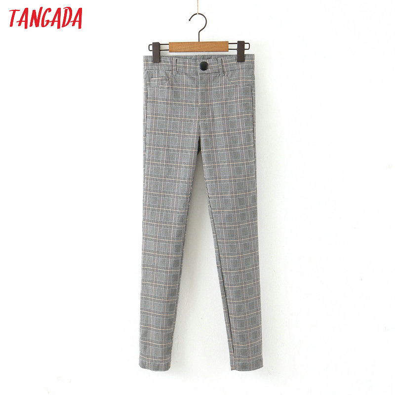 Tangada Fashion Women Plaid Slim Suit Pants Trousers Pockets Buttons Office Lady Vintage Strethy Pants Pantalon HY55