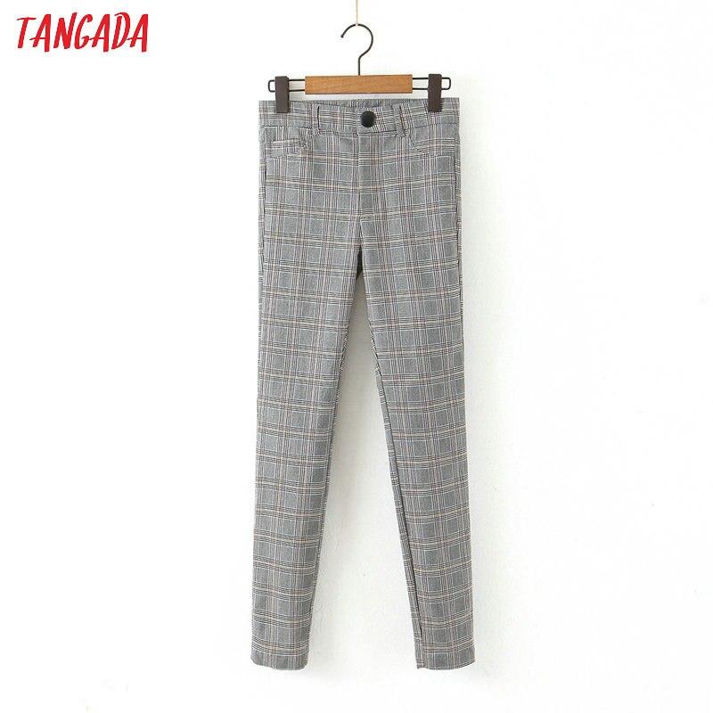 Tangada Fashion Women Plaid Slim Suit Pants Trousers Pockets Buttons Office Lady Vintage Strethy Pants Pantalon HY55