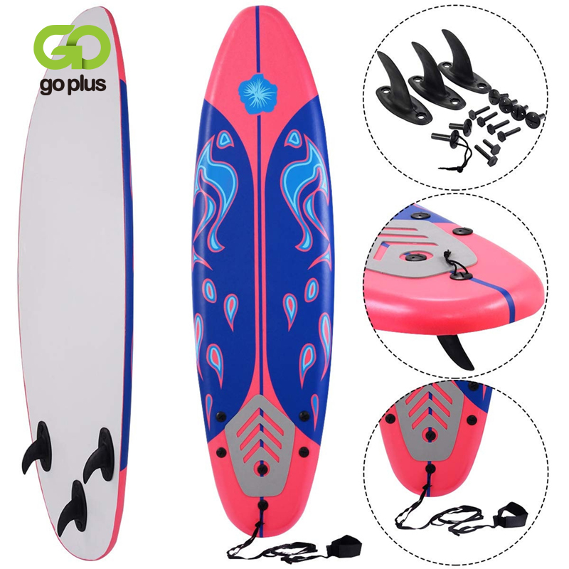 6' Surf Foamie Boards Surfing Beach Surfboard Durable EPS Core Slick HDPE High Speed Bottom Removable Fins Beginners Surfboard