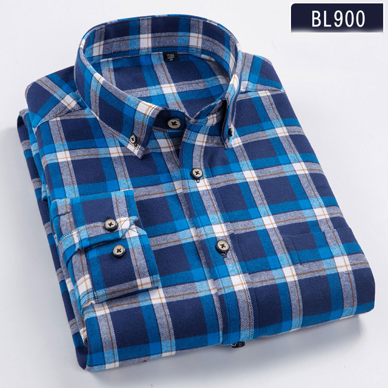 High Quality 100% Cotton Autumn Long Sleeves Shirts Turn-down Collar Casual Shirts Comfortable Plaid Male Tops Plus Size S-8XL 1