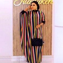 African Print Striped Dresses For Women Dashiki Evening Party Dress Kaftan Abaya Robe Plus Size Boubou Africain jellaba femme