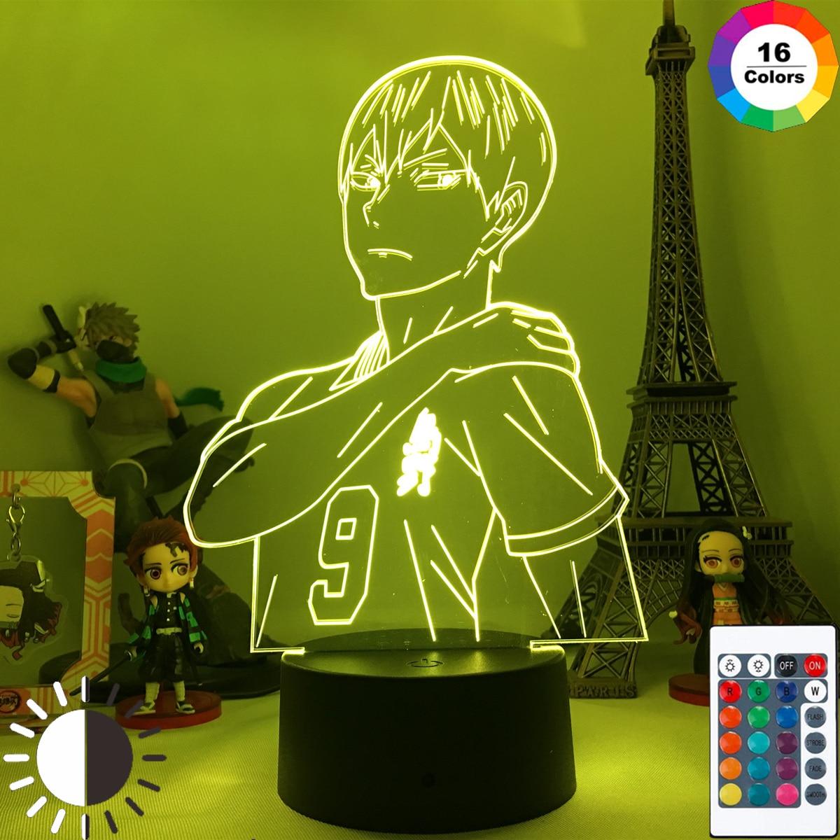 Anime luz conduzida haikyu 3d night light para decoração do quarto criança crianças presente de aniversário mangá gadget lâmpada sinais de néon para o quarto