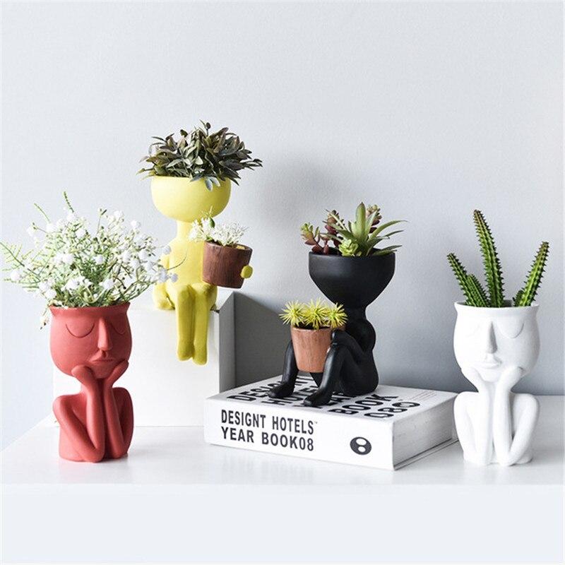 Art Portrait Sculpture Vase Creative Succulents Plant Pot Garden Storage Flower Pot Abstract Character Pot Micro Landscape Decor