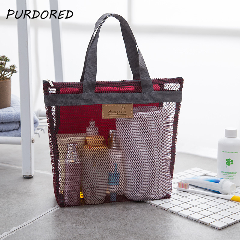 PURDORED 1 Pc Women Travel Large Cosmetic Bag Set Makeup Mesh Toiletry Bags Men Wash Organizer Portable Pouch Case Dropshipping